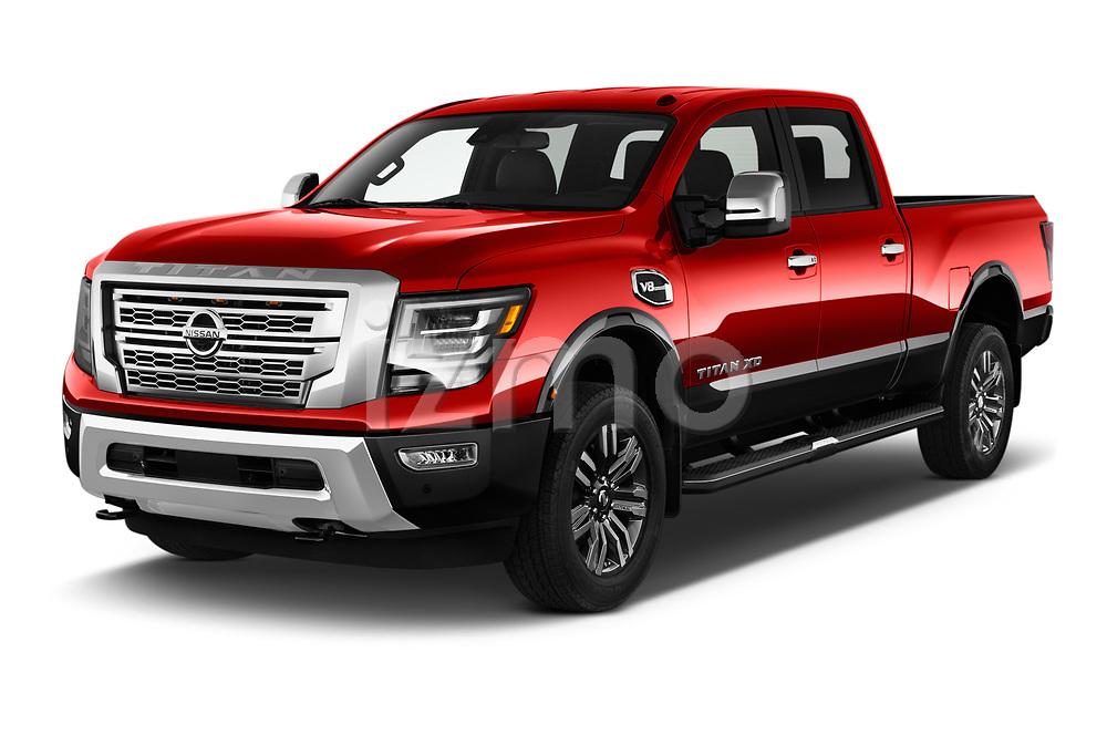 2021 Nissan Titan-XD Platinum-Reserve 4 Door Pick-up Angular Front automotive stock photos of front three quarter view