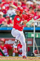 28 February 2019: St. Louis Cardinals pitcher Luke Gregerson takes an at bat during a Spring Training game against the New York Mets at Roger Dean Stadium in Jupiter, Florida. The Mets defeated the Cardinals 3-2 in Grapefruit League play. Mandatory Credit: Ed Wolfstein Photo *** RAW (NEF) Image File Available ***