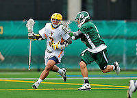 24 April 2012: University of Vermont Catamount Midfielder Ahmad Zachary, a Sophomore from Lower Merion, PA, in action against the Dartmouth College Big Green at Virtue Field in Burlington, Vermont. The Catamounts fell to the visiting Big Green 10-5 in Men's Varsity Lacrosse action. Mandatory Credit: Ed Wolfstein Photo