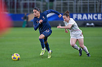 French Amel Majri (10) and Swiss Thais Hurni (16) pictured during the 2nd Womens International Friendly game between France and Switzerland at Stade Saint-Symphorien in Longeville-lès-Metz, France.