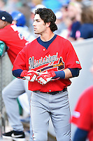 Mississippi Braves shortstop Dansby Swanson (5) in the dugout during a game against the Tennessee Smokies at Smokies Stadium on May 7, 2016 in Kodak, Tennessee. The Smokies defeated the Braves 5-3. (Tony Farlow/Four Seam Images)