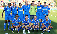 The starting lineup for the Boston Breakers.  Philadelphia took an early lead, but Boston stormed back with two goals to capture the win, 2-1, at Farrell Stadium in West Chester, PA.