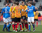 Partick Thistle v St Johnstone.....14.03.15<br /> Murray Davidson and Stephen O'Donnell are separated<br /> Picture by Graeme Hart.<br /> Copyright Perthshire Picture Agency<br /> Tel: 01738 623350  Mobile: 07990 594431