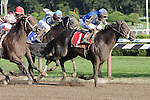 05 09 2009: Pyro and Johnny Velazquez win the 30th running of the $300,000 Grade 1 Forego Stakes 3 yo & up, 7 fulongs at Saratoga Racetrack, Saratoga Springs
