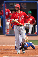 Washington Nationals Jordy Mercer (27) bats during a Major League Spring Training game against the New York Mets on March 18, 2021 at Clover Park in St. Lucie, Florida.  (Mike Janes/Four Seam Images)