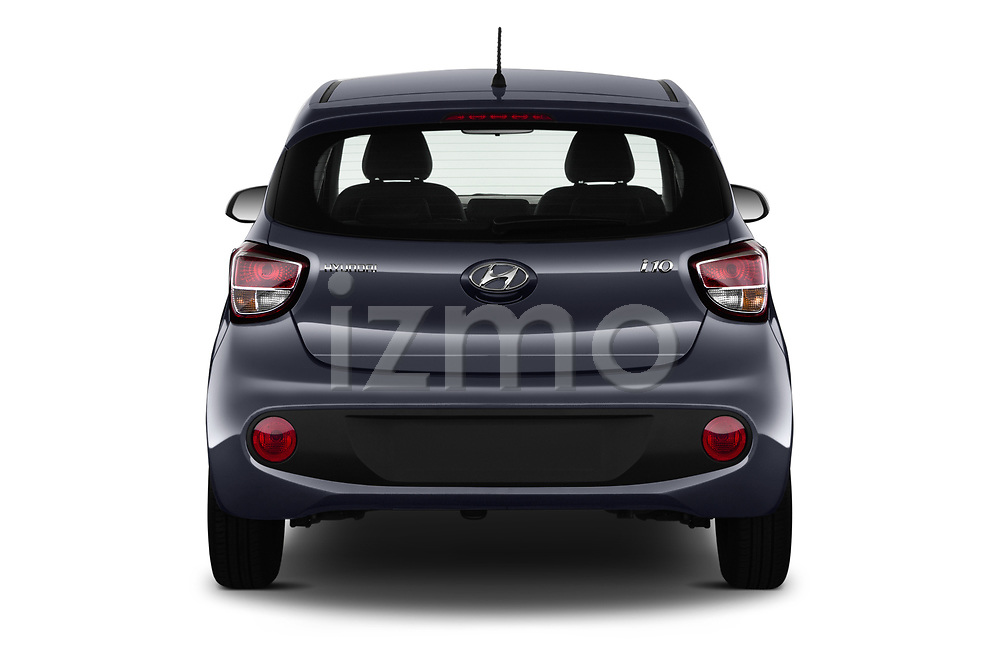 Straight rear view of 2019 Hyundai i10 Twist 5 Door Hatchback Rear View  stock images