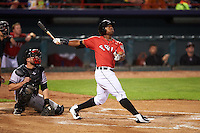 Erie SeaWolves left fielder Christin Stewart (17) at bat in front of catcher Steven Lerud during a game against the Richmond Flying Squirrels on August 22, 2016 at Jerry Uht Park in Erie, Pennsylvania.  Erie defeated Richmond 4-2.  (Mike Janes/Four Seam Images)