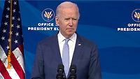 United States President-elect Joe Biden delivers remarks from the Queen Theatre in Wilmington, Delaware on the unrest in and around the US Capitol in Wilmington, Delaware on Wednesday, January 6, 2021.  In his remarks Biden condemned Trump for inciting the violence.<br /> Credit: Biden Transition via CNP/AdMedia