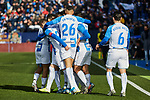 Players of CD Leganes celebrate goal during La Liga match between CD Leganes and RCD Espanyol at Butarque Stadium in Leganes, Spain. December 22, 2019. (ALTERPHOTOS/A. Perez Meca)