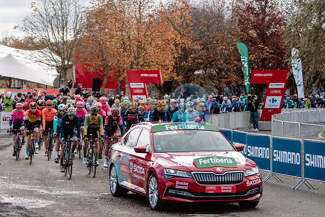 The start of Stage 7 of the Vuelta Espana 2020 running 159.7km from Vitoria-Gasteiz to Villanueva de Valdegovia, Spain. 27th October 2020. <br /> Picture: Unipublic/BaixauliStudio | Cyclefile<br /> <br /> All photos usage must carry mandatory copyright credit (© Cyclefile | Unipublic/BaixauliStudio)