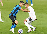 Real Madrid's Carlos Henrique Casemiro (r) and Football Club Internazionale Milano's Achraf Hakimi during UEFA Champions League match. November 3,2020.(ALTERPHOTOS/Acero)