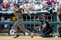 Vanderbilt Commodores third baseman Austin Martin (16) launches his second home run of the game against the Louisville Cardinals in the NCAA College World Series on June 16, 2019 at TD Ameritrade Park in Omaha, Nebraska. Vanderbilt defeated Louisville 3-1. (Andrew Woolley/Four Seam Images)