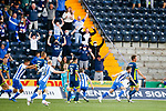 1-0, Goal celebration by Liam Polworth of Kilmarnock. Kilmarnock 2 Ayr United 0, Scottish Championship, August 2nd 2021. Following Kilmarnock's relegation in 2020-21, the first game of the new season is the Ayreshire Derby, the first league match between the teams in 28 years. Due to relaxation of Covid restrictions the match was played in front of a crowd of 3200 Kilmarnock fans. The game was shown live on BBC Scotland.