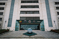 Torino 04-05-2020 <br /> The entrances of  the FCA Fiat Chrysler Automobiles  factory. <br /> In compliance with the safety regulations due to the Coronavirus Covid-19 pandemic, body temperature is measured using thermoscanners and pistol thermometers besides the mandatory use of protective masks . <br /> Today, May 4, the second phase of the measures taken by the Italian government against the coronavirus pandemic began. <br /> <br /> Ingresso dello stabilimento di FCA Fiat Mirafiori . In ottemperanza alle normative di sicurezza per la pandemia di Coronavirus Covid-19, viene misurata a tutti la temperatura corporea prima dell'ingresso in fabbrica, mediante termoscanner e termometri a pistola oltre all'uso obbligatorio delle mascherine protettive.<br /> Oggi è iniziata la fase due (2) delle misure contro la pandemia di coronavirus adottate dal governo italiano. <br /> Photo: Federico Tardito / Insidefoto
