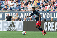 FOXBOROUGH, MA - AUGUST 8: Maciel #13 of New England Revolution looks to pass during a game between Philadelphia Union and New England Revolution at Gillette Stadium on August 8, 2021 in Foxborough, Massachusetts.