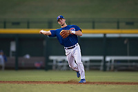 AZL Cubs 1 shortstop Nico Hoerner (24) makes a throw to first base during an Arizona League game against the AZL Athletics at Sloan Park on June 28, 2018 in Mesa, Arizona. AZL Athletics defeated AZL Cubs 1 5-4. (Zachary Lucy/Four Seam Images)