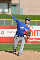 Logan Verrett (35) of the Las Vegas 51s prior to the game against the Salt Lake Bees at Smith's Ballpark on May 8, 2014 in Salt Lake City, Utah.  (Stephen Smith/Four Seam Images)
