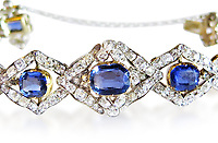 BNPS.co.uk (01202) 558833.<br /> Pic: HumphreyButler/BNPS<br /> <br /> Pictured: The bracelet.<br /> <br /> A 'lost' sapphire and diamond bracelet owned by Queen Victoria and believed to have been designed by her husband Prince Albert has gone on display at the V&A museum.<br /> <br /> The bracelet has now been reunited with a matching tiara which is considered one of the iconic queen's most important jewels and was saved for the nation in 2017.<br /> <br /> The two stunning pieces of jewellery have not been seen together since 1953 when Princess Mary, Queen Victoria's great-granddaughter, wore them to an event.