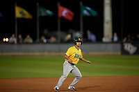 Siena Saints Yasser Santana (7) leads off during a game against the UCF Knights on February 14, 2020 at John Euliano Park in Orlando, Florida.  UCF defeated Siena 2-1.  (Mike Janes/Four Seam Images)