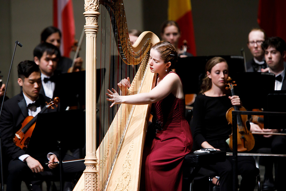 Melanie Laurent of France performs with the Indiana University Summer Philharmonic Orchestra during the Stage IV concert at the 11th USA International Harp Competition at Indiana University in Bloomington, Indiana on Saturday, July 13, 2019. (Photo by James Brosher)