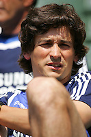 A Chelsea FC coach during David Beckham's first practice with LA Galaxy at the Home Depot Center in Carson, California, Monday, July 16, 2007.