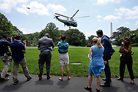 Marine One, with United States President Donald J. Trump aboard, departs from the White House in Washington, DC on June 5, 2020. Trump is going to participate in a roundtable on supporting commercial fishermen and tour Puritan Medical Products in Guilford, Maine.<br /> Credit: Yuri Gripas / Pool via CNP/AdMedia