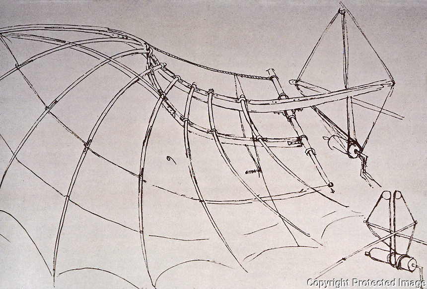Technology: Leonardo. Ribbed wing and crank device for manipulating it.  Reference only.