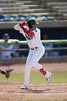 Gabriel Rodriguez (2) of the Lynchburg Hillcats at bat against the Myrtle Beach Pelicans at Bank of the James Stadium on May 23, 2021 in Lynchburg, Virginia. (Brian Westerholt/Four Seam Images)