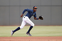 Shortstop Ronny Mauricio (2) of the Columbia Fireflies tracks a ground ball in a game against the Rome Braves on Tuesday, June 4, 2019, at Segra Park in Columbia, South Carolina. Columbia won, 3-2. (Tom Priddy/Four Seam Images)