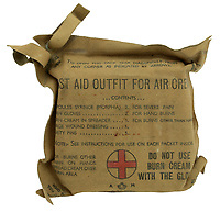 BNPS.co.uk (01202) 558833. <br /> Pic: Spink&Son/BNPS<br /> <br /> Pictured: The aircrews first aid kit is part of the sale<br /> <br /> The bravery medals of a larger-than-life hero Pathfinder pilot who clocked up a staggering 100 bombing raids have emerged for sale for £32,000.<br /> <br /> Wing Commander Sidney 'Tubby' Baker, who was known for his love of food, drink and cigarettes, repeatedly risked his life in attacks on heavily defended German and Italian targets.<br /> <br /> Upon returning to his airbase after completing his century, the No 635 Squadron commander was handed a well-earned pint of beer and 'grounded with immediate effect'.<br /> <br /> As was his custom, he downed the drink and puffed on a celebratory cigarette.