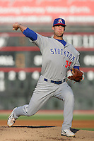 May 19, 2010: Justin Murray of the Stockton Ports during game against the Lake Elsinore Storm at The Diamond in Lake Elsinore,CA.  Photo by Larry Goren/Four Seam Images