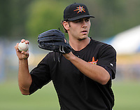 June 20, 2008: RHP Jake Arrieta (34) of the Frederick Keys, Carolina League affiliate of the Baltimore orioles, prior to a game against the Potomac Nationals at G. Richard Pfitzner Stadium in Woodbridge, Va. Photo by:  Tom Priddy/Four Seam Images