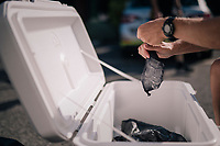 preparing of the ice in stockings (for the riders to cool down during the race)<br /> <br /> Stage 15: Millau > Carcassonne (181km)<br /> <br /> 105th Tour de France 2018<br /> ©kramon
