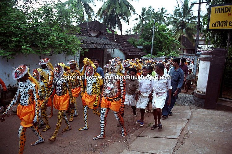 Pulikali performers going to Swaraj road to perform in Pulikali festival, Trichur, Kerala, India..Pulikali or Kaduvvakali is a two hundred year old folk dance form, practised mostly in Thrissur and Palghat districts of Kerala. It liberally makes use of forms and symbols of nature that finds expression in its bright, bold body painting and high-energy dance movements. The philosophy of Pulikali is that human and nature are integral parts of each other. So by fusing man and beast in its artistic language, it flamboyantly celebrates the connection. Arindam Mukherjee