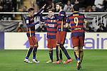 FC Barcelona's Neymar Jr, Leo Messi, Gerard Pique and Luis Suarez during La Liga match. March 3,2016. (ALTERPHOTOS/Acero)