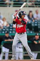 Frisco Roughriders shortstop Luis Sardinas (2) at bat in the Texas League baseball game against the San Antonio Missions on August 22, 2013 at the Nelson Wolff Stadium in San Antonio, Texas. Frisco defeated San Antonio 2-1. (Andrew Woolley/Four Seam Images)