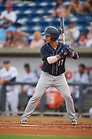 Jacksonville Jumbo Shrimp catcher Sharif Othman (17) at bat during a game against the Pensacola Blue Wahoos on August 15, 2018 at Blue Wahoos Stadium in Pensacola, Florida.  Jacksonville defeated Pensacola 9-2.  (Mike Janes/Four Seam Images)