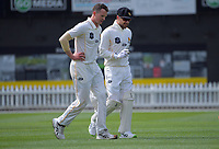 Ollie Newton (left) and Tom Blundell during day two of the Plunket Shield match between the Wellington Firebirds and Canterbury at Basin Reserve in Wellington, New Zealand on Tuesday, 20 October 2020. Photo: Dave Lintott / lintottphoto.co.nz
