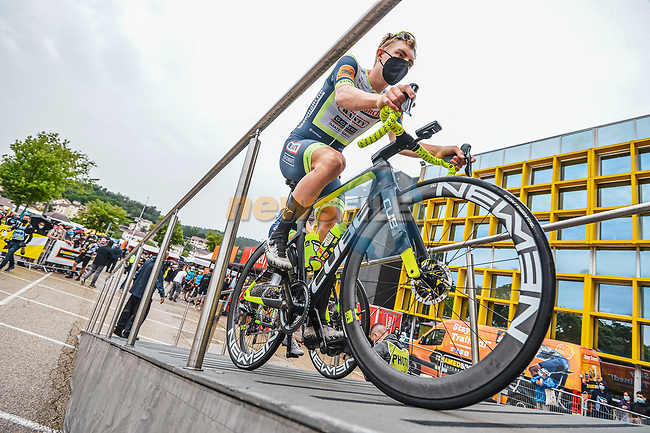 Georg Zimmermann (GER) Intermarché–Wanty–Gobert Matériaux at sign on before the start of Stage 8 of the 2021 Tour de France, running 150.8km from Oyonnax to Le Grand-Bornand, France. 3rd July 2021.  <br /> Picture: A.S.O./Charly Lopez   Cyclefile<br /> <br /> All photos usage must carry mandatory copyright credit (© Cyclefile   A.S.O./Charly Lopez)