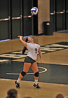 28 October 2012: Old Westbury Panthers Allie Giancola, a Freshman from Floral Park, NY, in action against the Yeshiva University Maccabees at SUNY Old Westbury in Old Westbury, NY. The Panthers defeated the Maccabees 3-0 in NCAA women's volleyball play. Mandatory Credit: Ed Wolfstein Photo