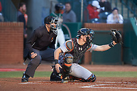 Augusta GreenJackets catcher Rob Calabrese (15) frames a pitch as home plate umpire Kelvis Velez looks on during the game against the Greensboro Grasshoppers at First National Bank Field on April 10, 2018 in Greensboro, North Carolina.  The GreenJackets defeated the Grasshoppers 5-0.  (Brian Westerholt/Four Seam Images)