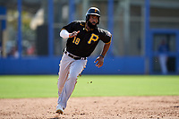 Pittsburgh Pirates Brian Goodwin (18) running the bases during a Major League Spring Training game against the Toronto Blue Jays on March 1, 2021 at TD Ballpark in Dunedin, Florida.  (Mike Janes/Four Seam Images)