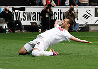 Pictured: Stephen Dobbie slides on his knees in celebration of putting the home side two nil ahead<br /> Swansea City FC (white) V Nottingham Forest (red) Championship play off semi final, second leg. Liberty Stadium Swansea 16/05/11<br /> Picture by: Ben Wyeth  / Athena Picture Agency<br /> info@athena-pictures.com
