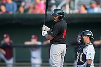 Great Falls Voyagers third baseman Bryce Bush (8) at bat during a Pioneer League game against the Idaho Falls Chukars at Melaleuca Field on August 18, 2018 in Idaho Falls, Idaho. The Idaho Falls Chukars defeated the Great Falls Voyagers by a score of 6-5. (Zachary Lucy/Four Seam Images)