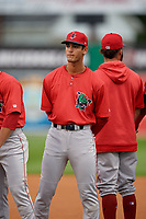 Lowell Spinners Matthew Lugo (47) during introductions before a NY-Penn League Semifinal Playoff game against the Batavia Muckdogs on September 4, 2019 at Dwyer Stadium in Batavia, New York.  Batavia defeated Lowell 4-1.  (Mike Janes/Four Seam Images)