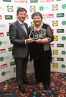 19/05/2015 <br /> Daniel O' Donnell & Mary Arrigan-Langan <br /> during the Irish mirror pride of Ireland awards at the mansion house, Dublin.<br /> Photo: gareth chaney Collins