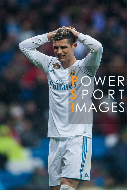 Cristiano Ronaldo of Real Madrid reacts during the La Liga 2017-18 match between Real Madrid and Villarreal CF at Santiago Bernabeu Stadium on January 13 2018 in Madrid, Spain. Photo by Diego Gonzalez / Power Sport Images