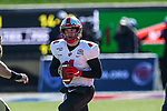 Western Kentucky Hilltoppers quarterback Ty Storey (4) in action during the Servpro First Responder Bowl game between Western Michigan Broncos and the Western Kentucky Hilltoppers at the gerald Ford Stadiuml Stadium in Dallas, Texas.