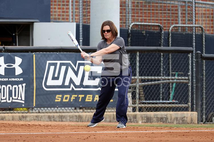 GREENSBORO, NC - MARCH 11: Head coach Janelle Breneman of UNC Greensboro during a game between Northern Illinois and UNC Greensboro at UNCG Softball Stadium on March 11, 2020 in Greensboro, North Carolina.