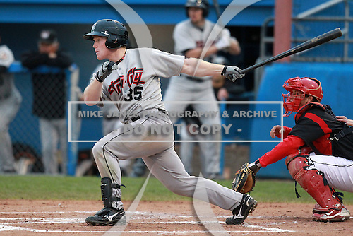 Tri-City Valleycats Dan Adamson (35) during game three of the NYPL Semifinals vs. the Batavia Muckdogs at Dwyer Stadium in Batavia, New York September 9, 2010.   Tri-City defeated Batavia 1-0.  Photo By Mike Janes/Four Seam Images